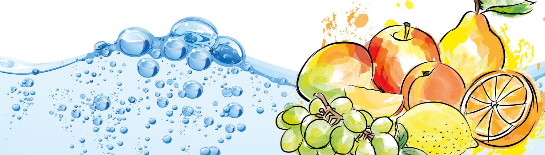 Illstration Obst, Wasser, helle Farben