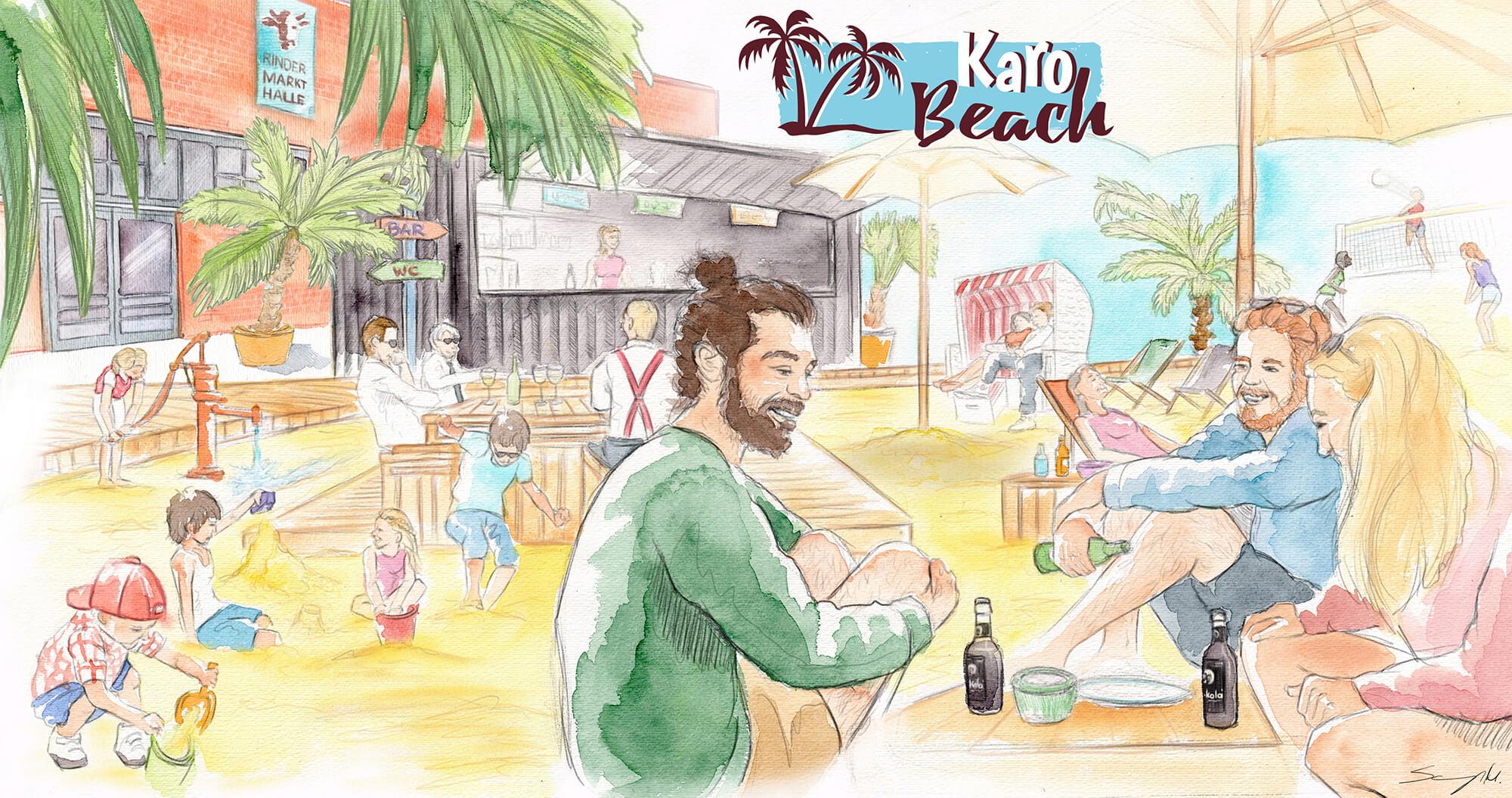 Illustration KaroBeach, Beachclub vor der Rindermarkthalle St. Pauli