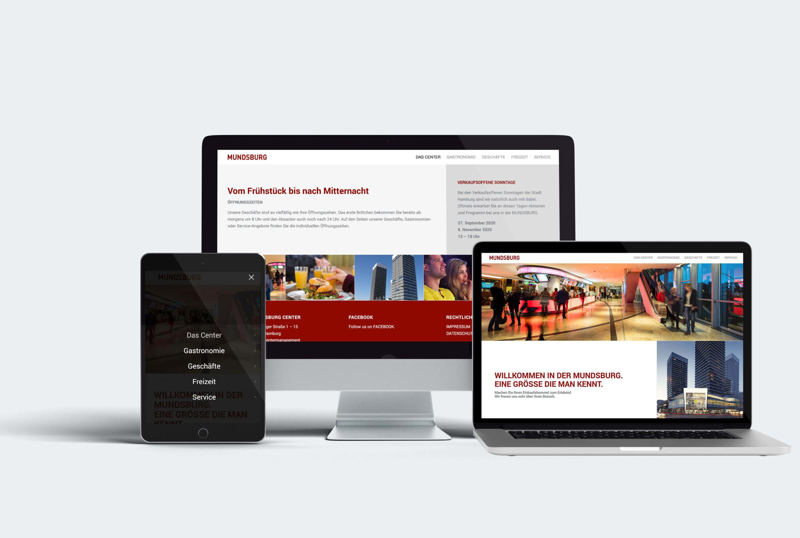Mundsburg Website, Desktop und mobile