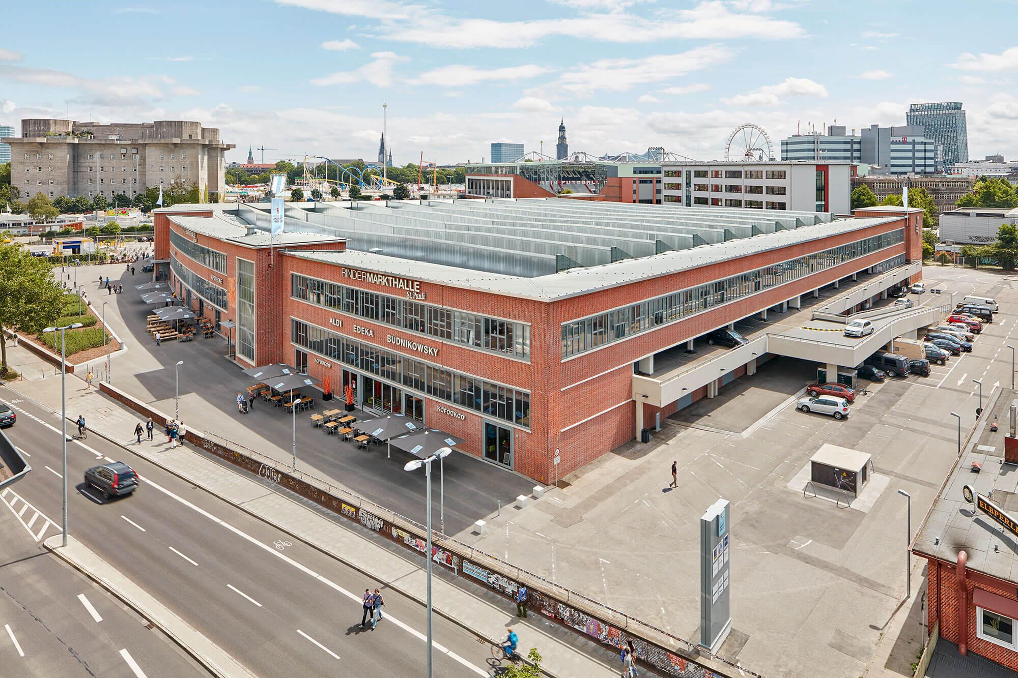 Rindermarkhalle St. Pauli, Blick auf das Gebäude
