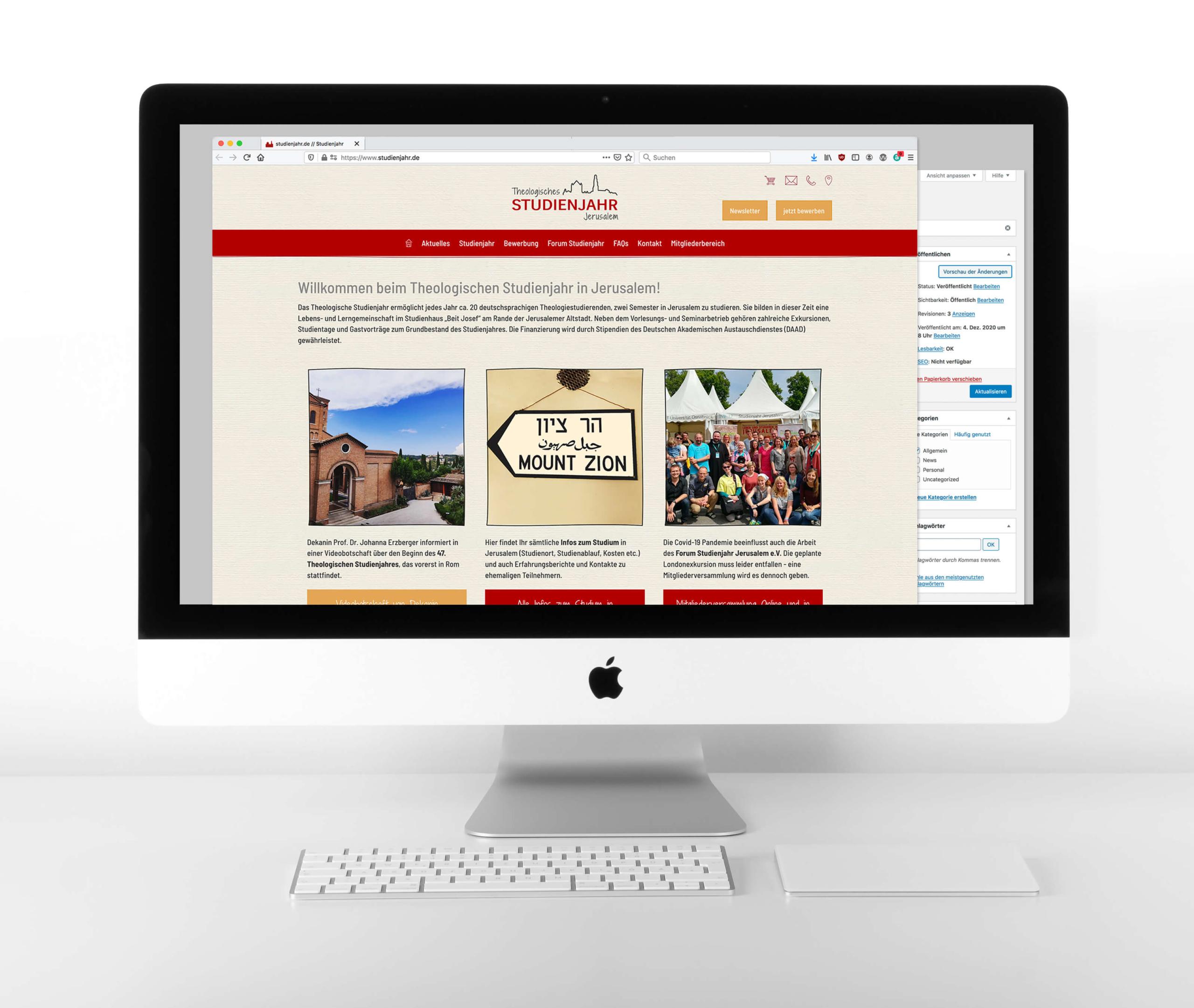 Forum Studienjahr, Website, Abbildung iMac