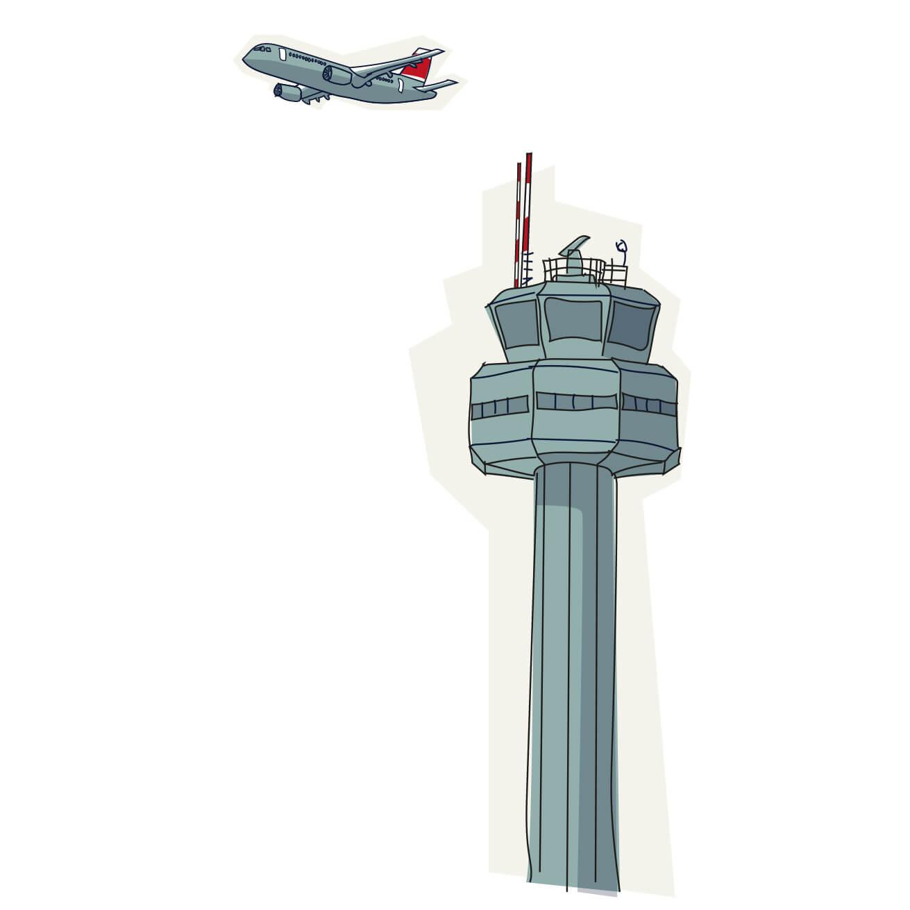 Illustration Flugzeugtower