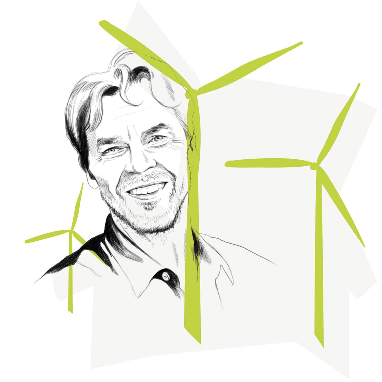 Illustration Portrait, schwarz/weiß mit grünen Elementen