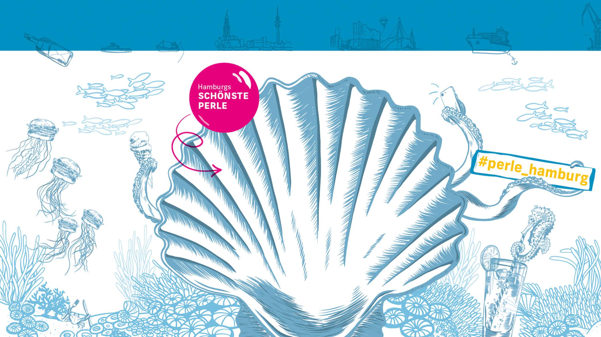 Illustration Unterwasserwelt PERLE Hamburg