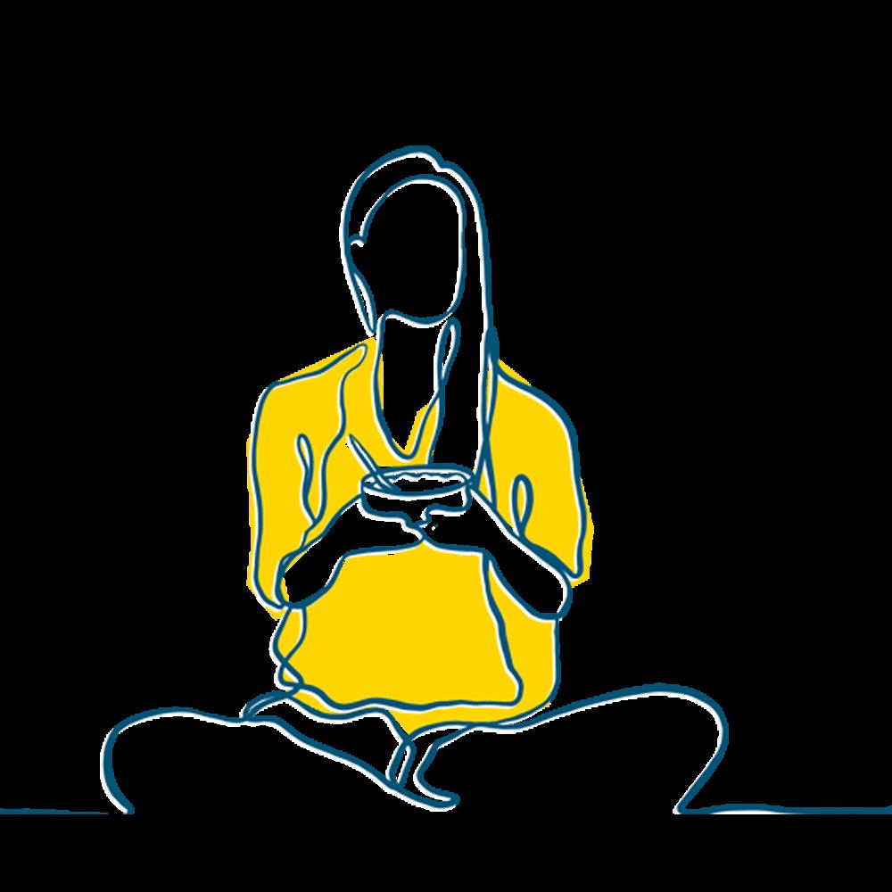 Illstration Frau mit Schale in der Hand, Wellness